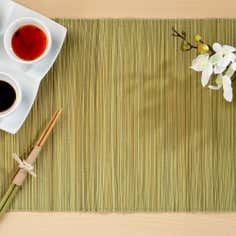 Pack of 4 Green Narrow Bamboo Placemats