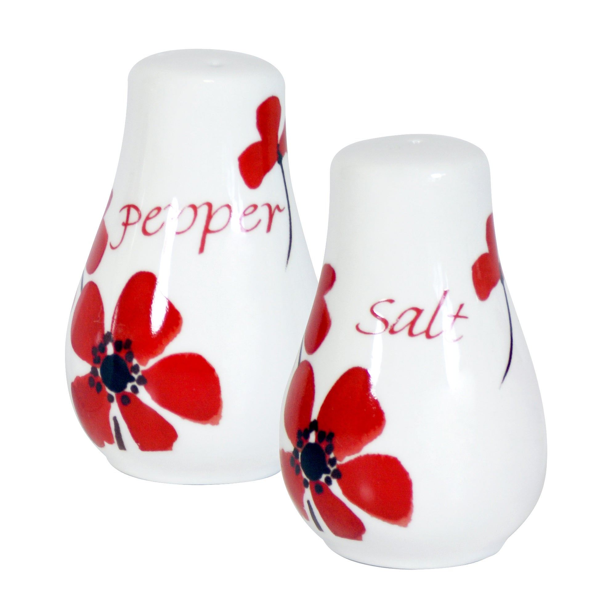 Red Painted Poppy Salt and Pepper Pots