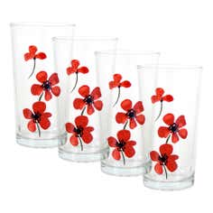 Red Painted Poppy Collection Set of 4 Glass Tumblers
