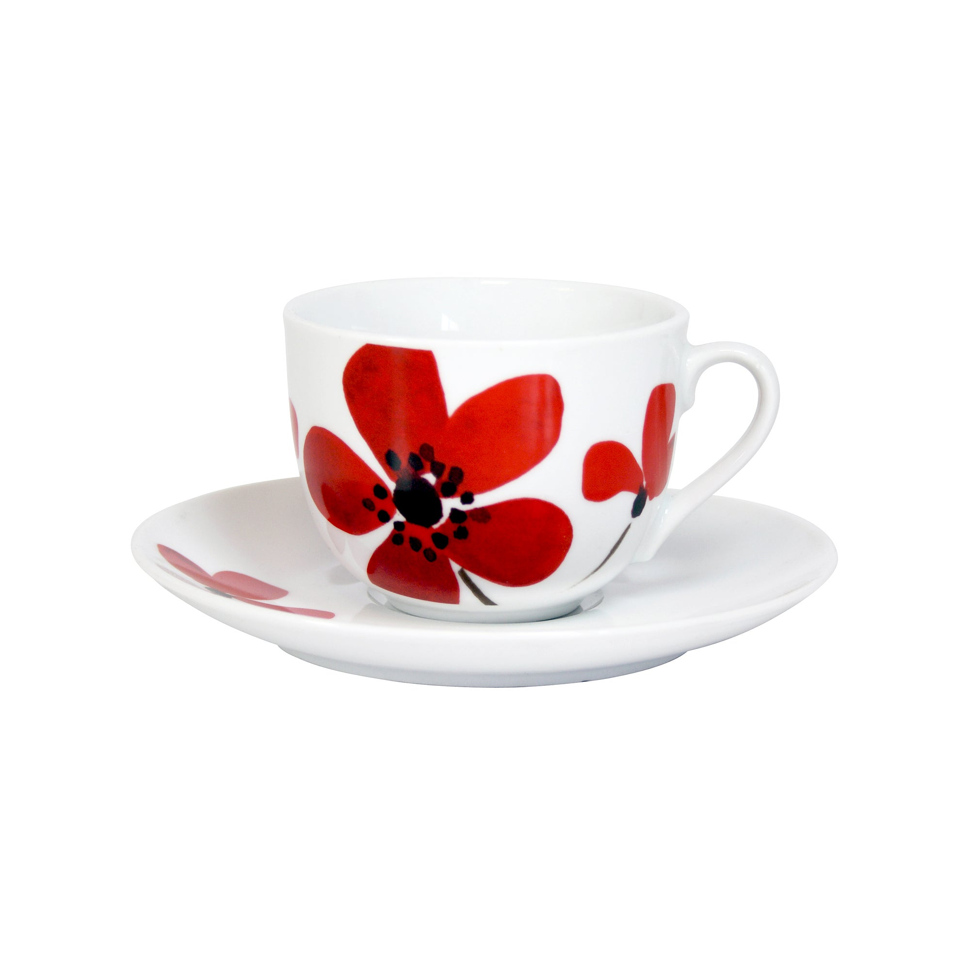 Red Painted Poppy Collection Cup and Saucer Set