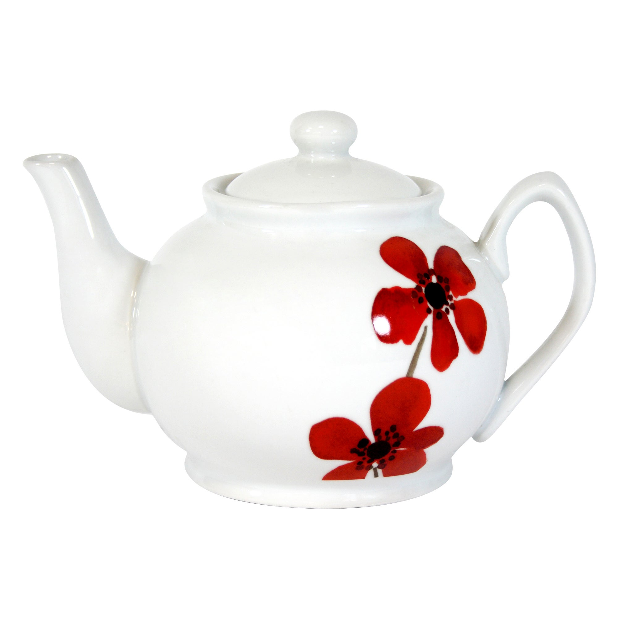 Red Painted Poppy Collection Teapot