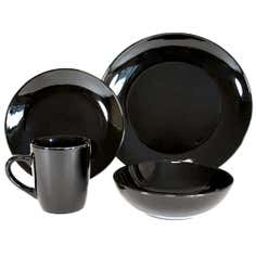 Black Simply Round 16 Piece Dinner Set
