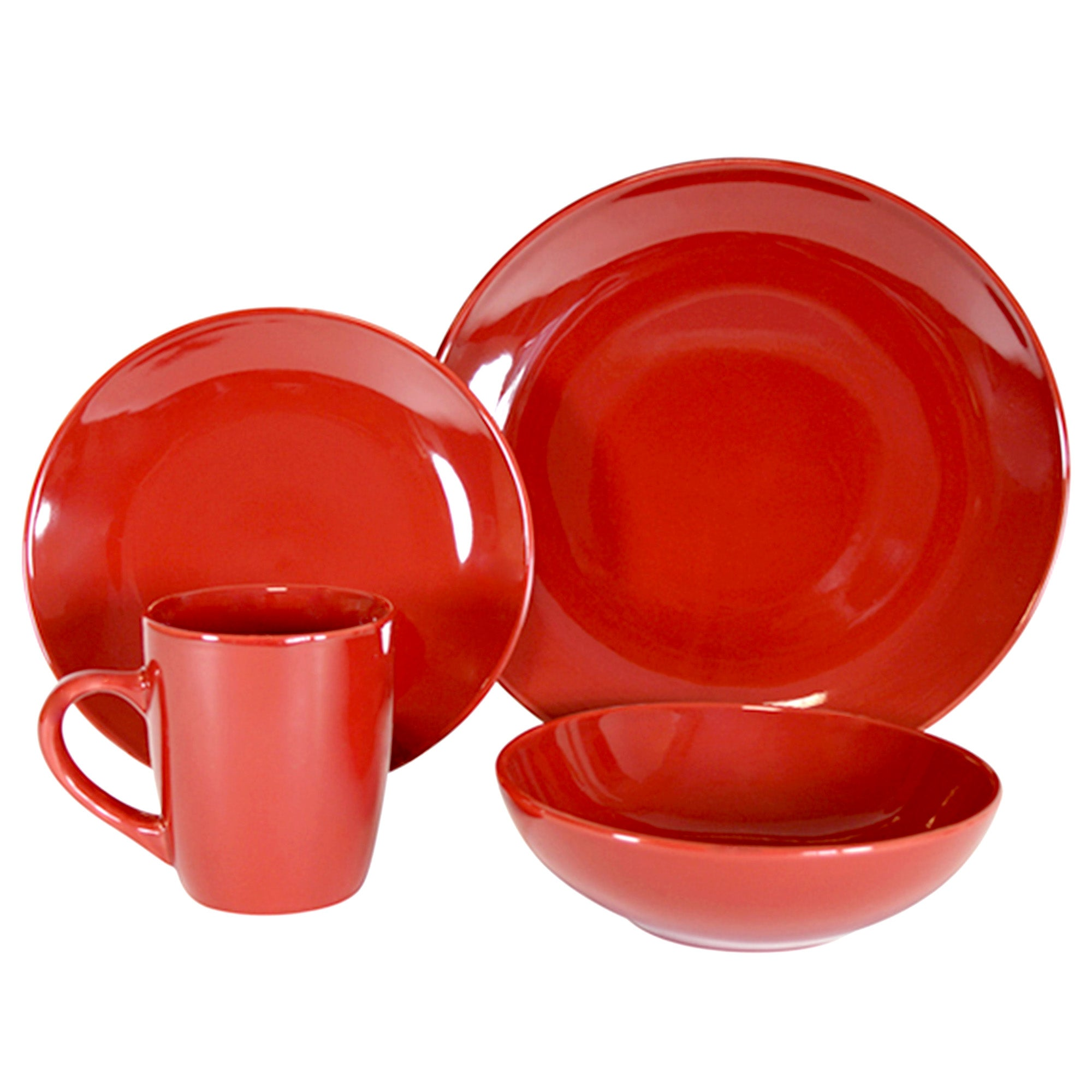 Red Simply Round 16 Piece Dinner Set