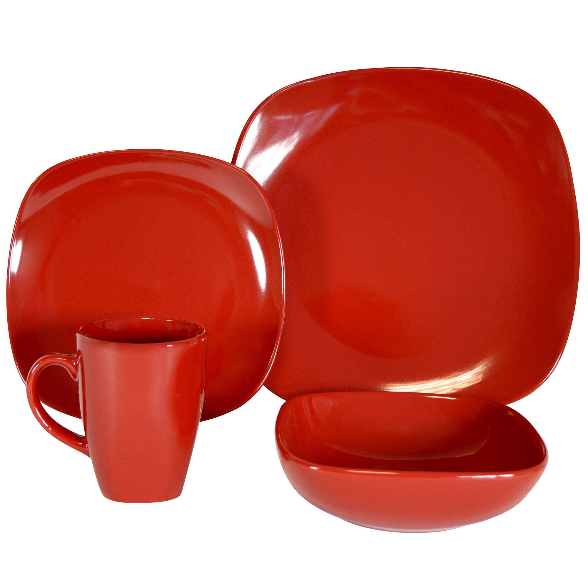 Red Simply Square 16 Piece Dinner Set