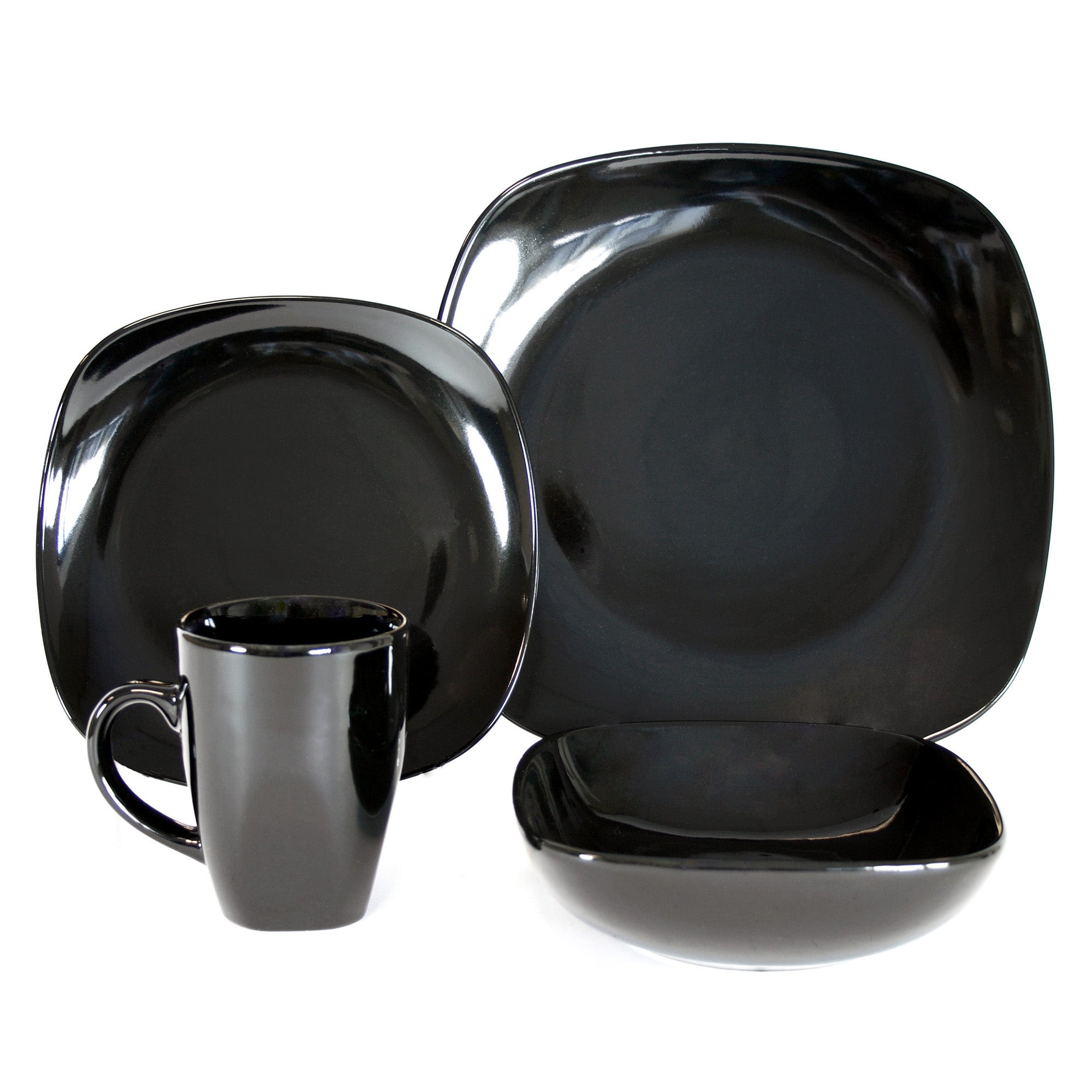 Black Simply Square 16 Piece Dinner Set