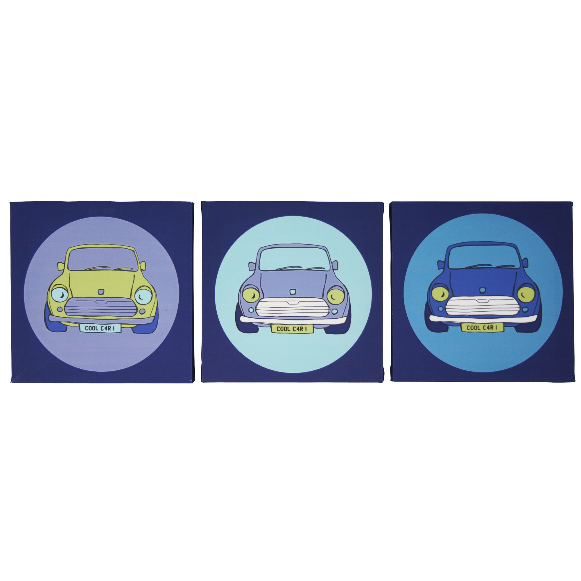 Kids Cool Cars Collection Set of 3 Canvases