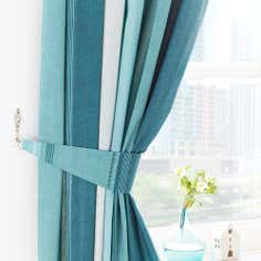Teal Finley Pencil Pleat Curtains