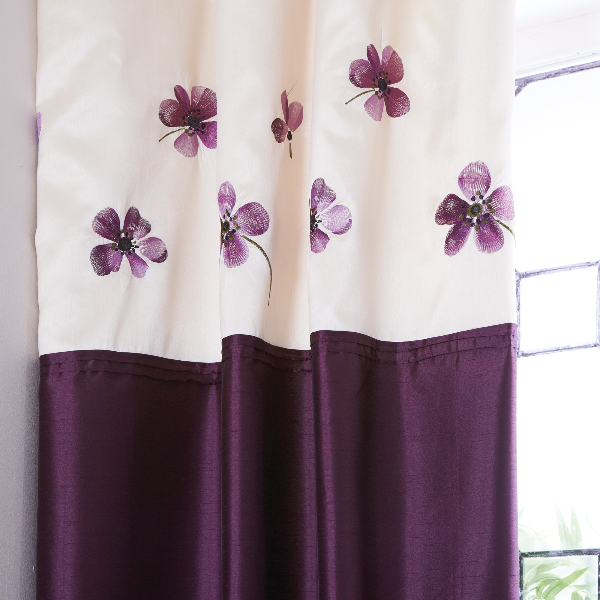 Plum Louisa Thermal Pencil Pleat Curtains