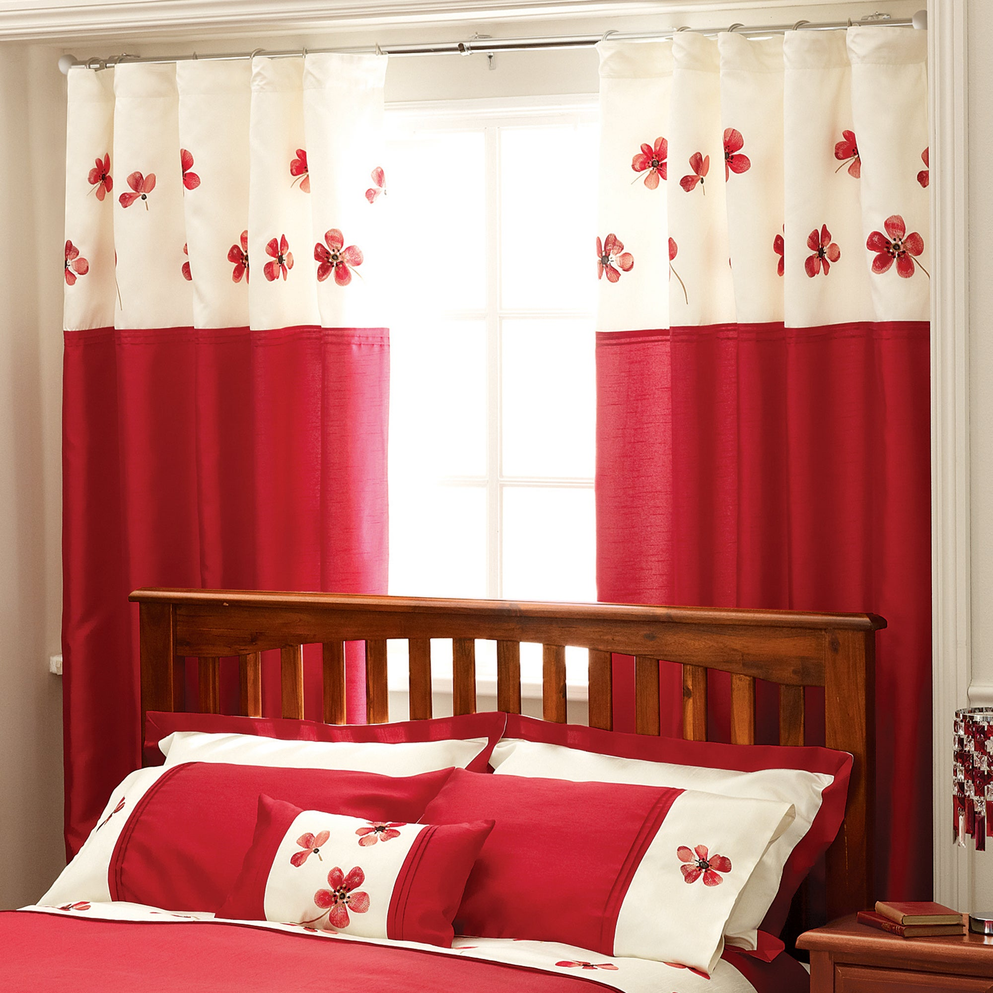 Red Louisa Thermal Pencil Pleat Curtains