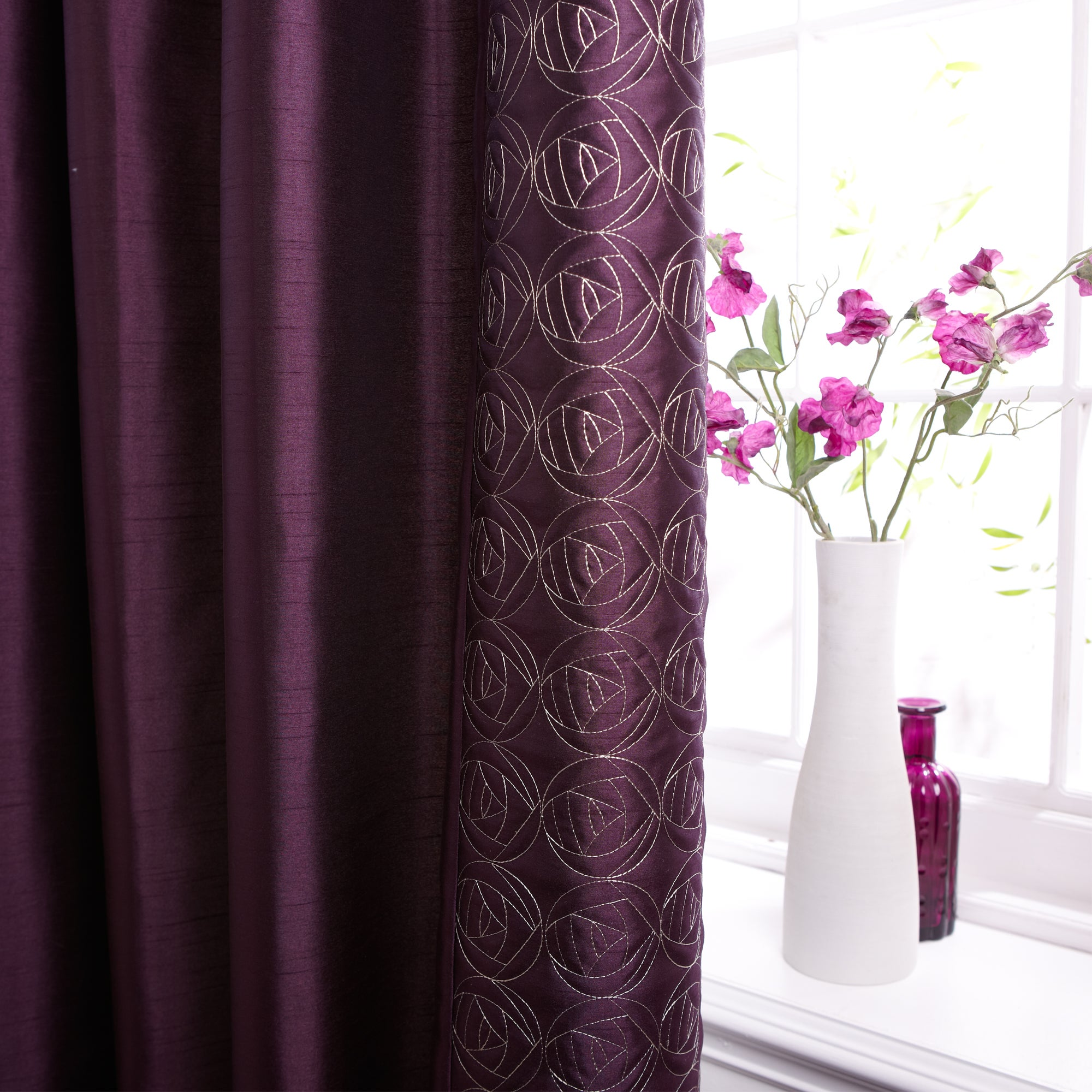Plum Nouveau Rose Thermal Pencil Pleat Curtains
