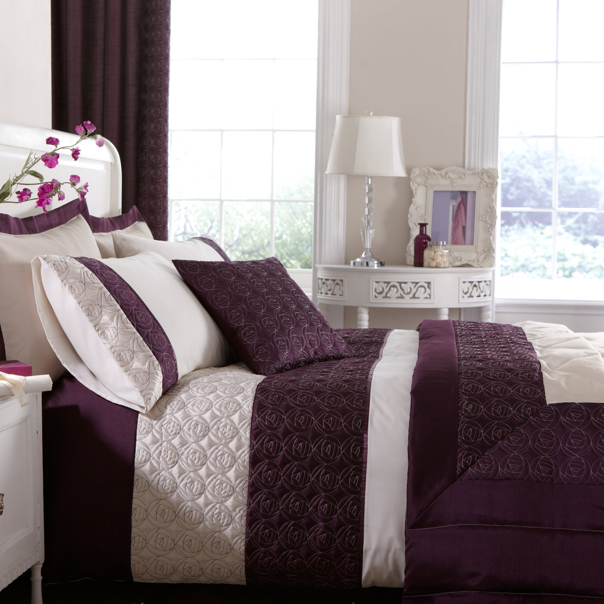 Plum Nouveau Rose Collection Bedspread