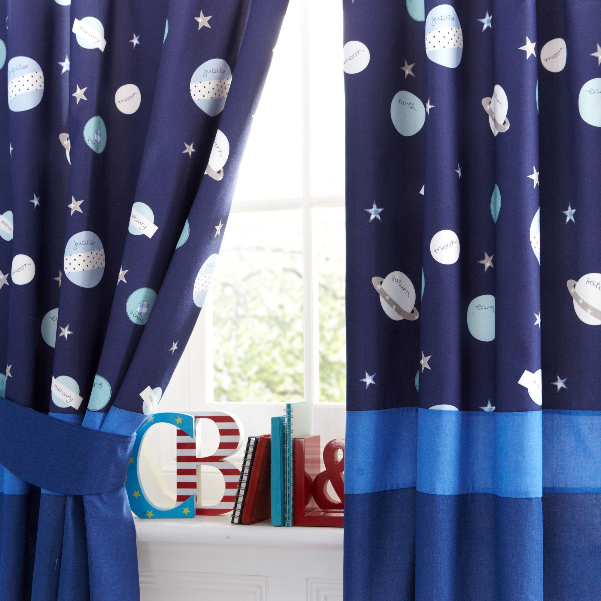 Kids space mission blackout pencil pleat curtains dunelm - Childrens bedroom blackout curtains ...