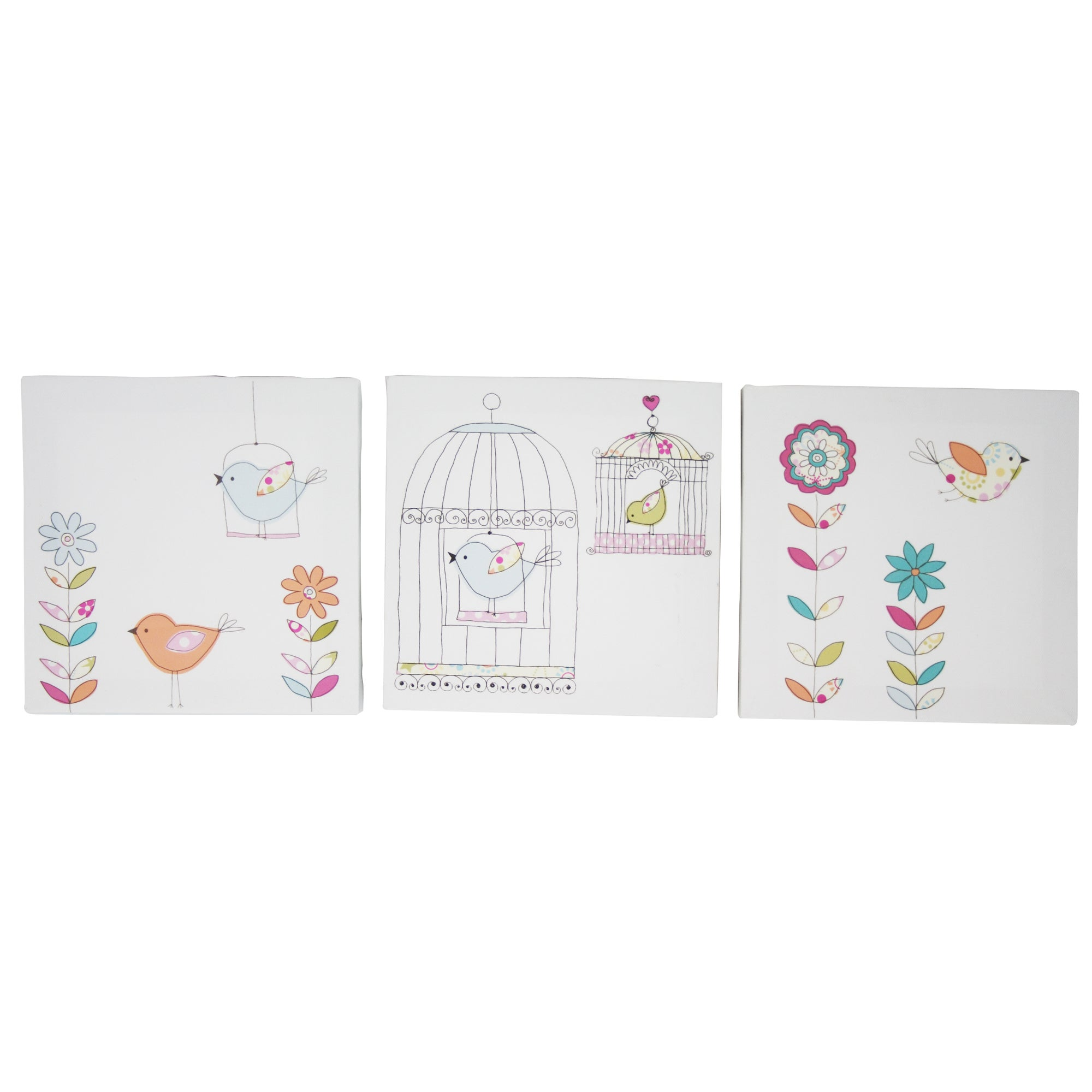 Kids Tweet Tweet Collection Set of 3 Canvases