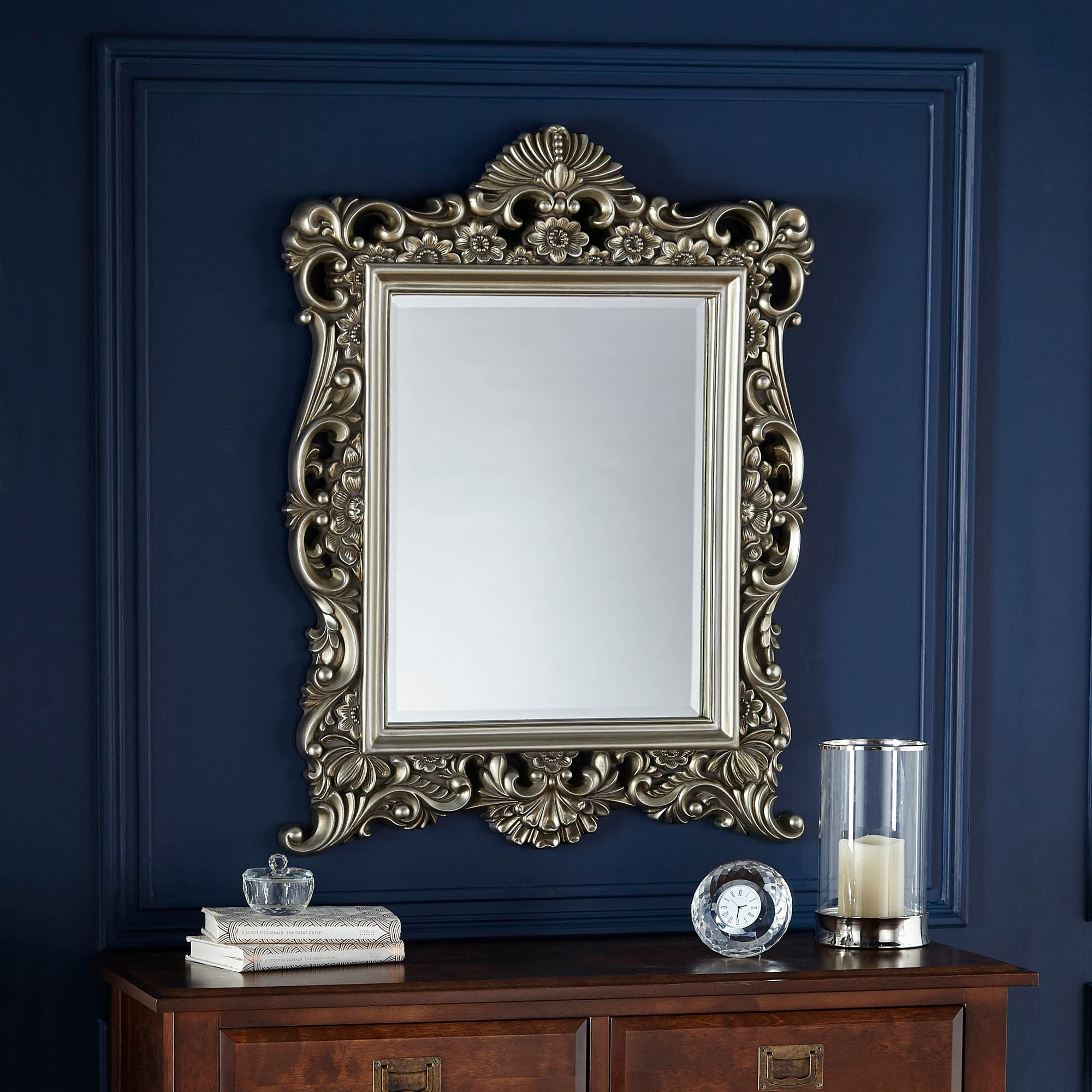 Silver Ornate Framed Mirror