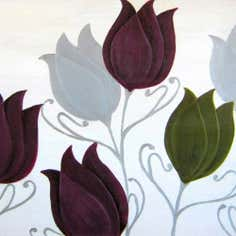 Tulips Foil and Stitch Detail Hand Painted Canvas