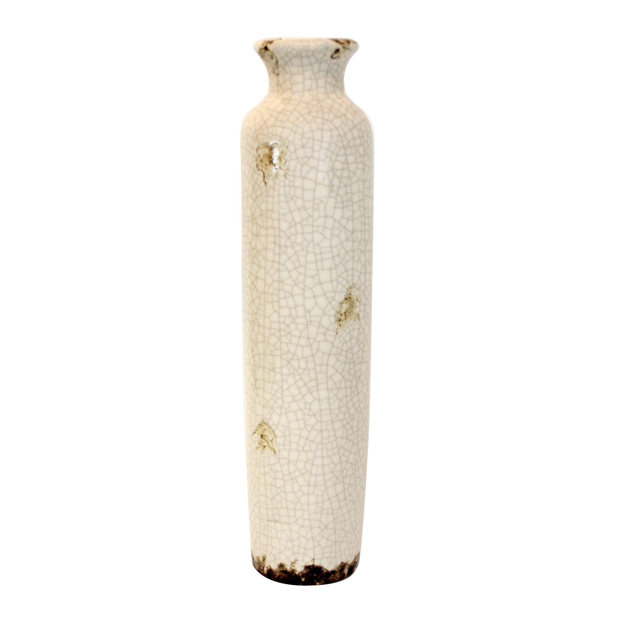 Vintage Collection Crackle Ceramic Bottle Vase