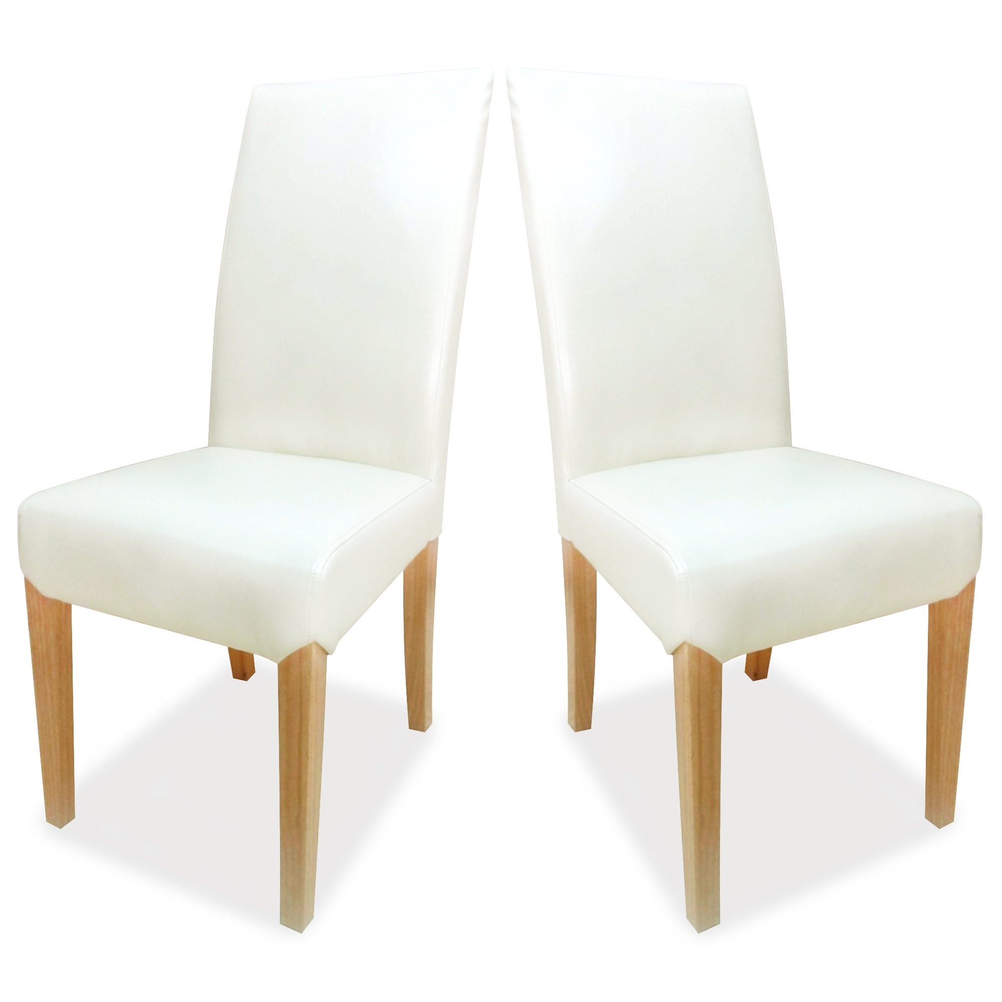 Milan Cream Leather Faced Pair of Dining Chairs