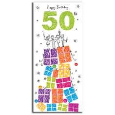 Paper Rose Sugar Pips 50th Birthday Card