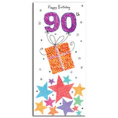 Paper Rose Sugar Pips 90th Birthday Card