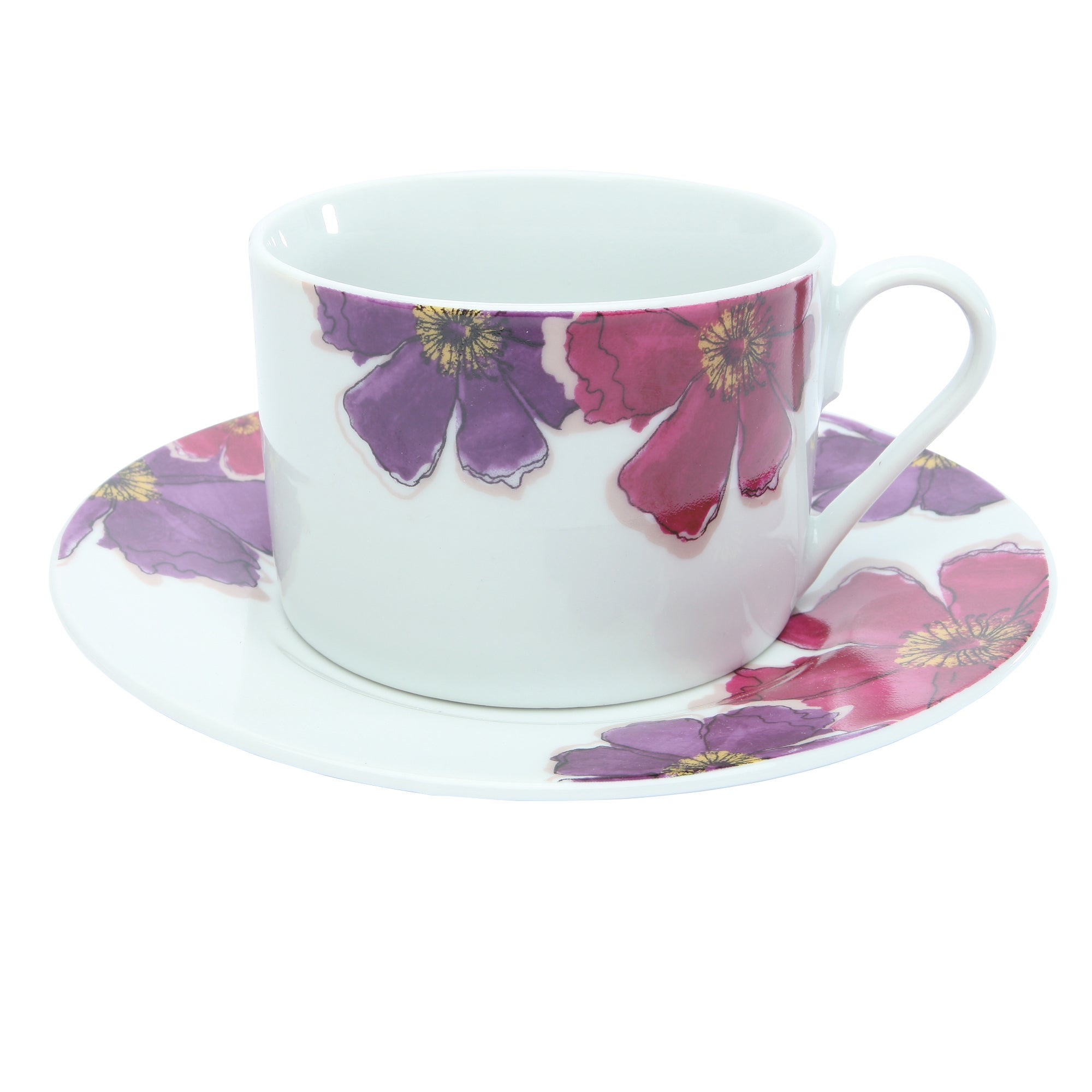 Mulberry Flower Collection Teacup and Saucer