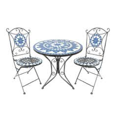 Mosaic Blue Star Tea For 2 Garden Bistro Set