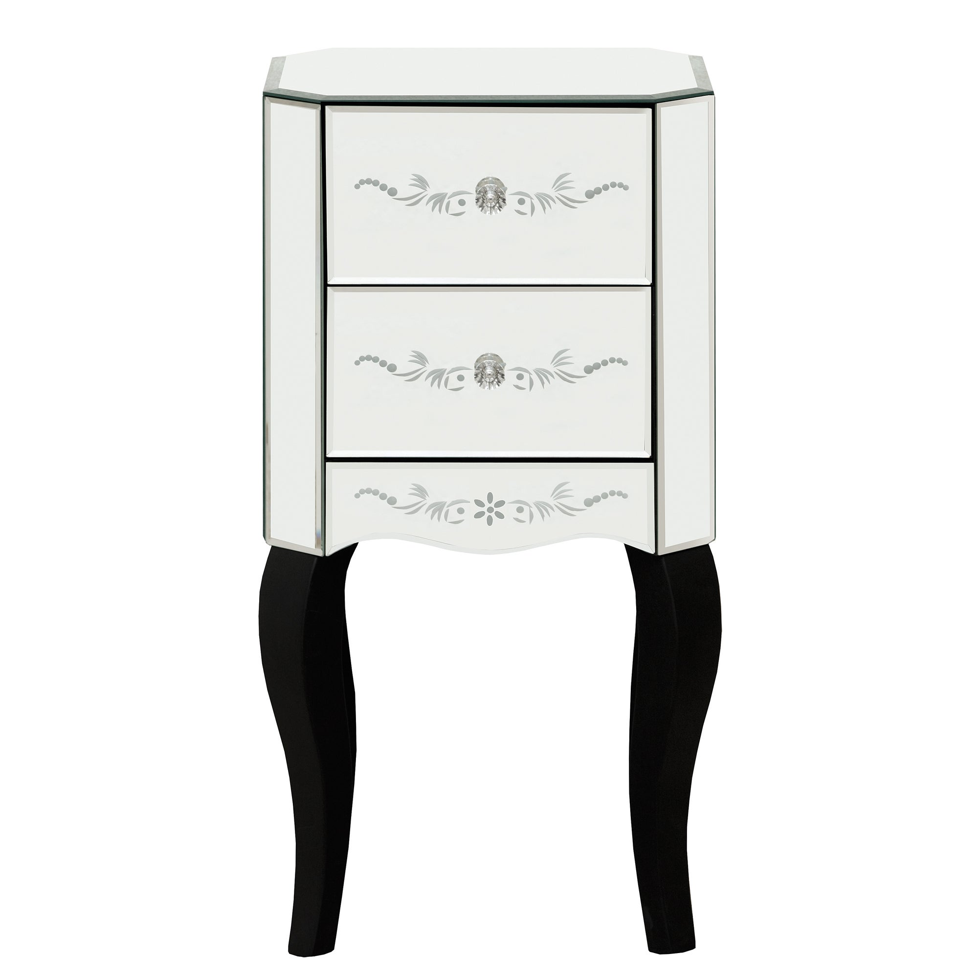 Parisian Mirrored 2 Drawer Nightstand