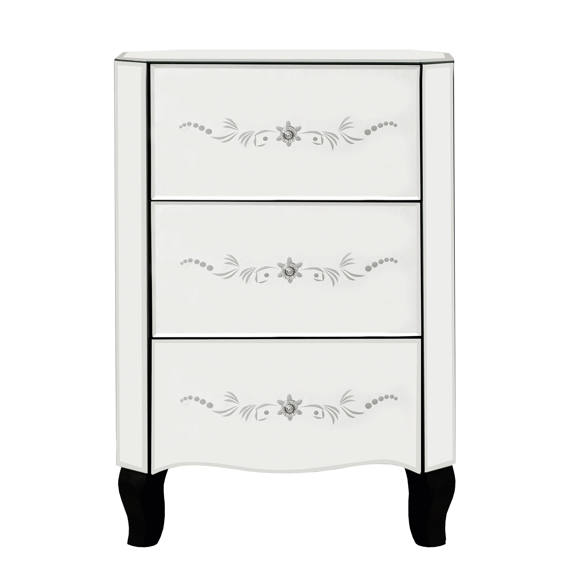 Parisian Mirrored 3 Drawer Bedside Chest