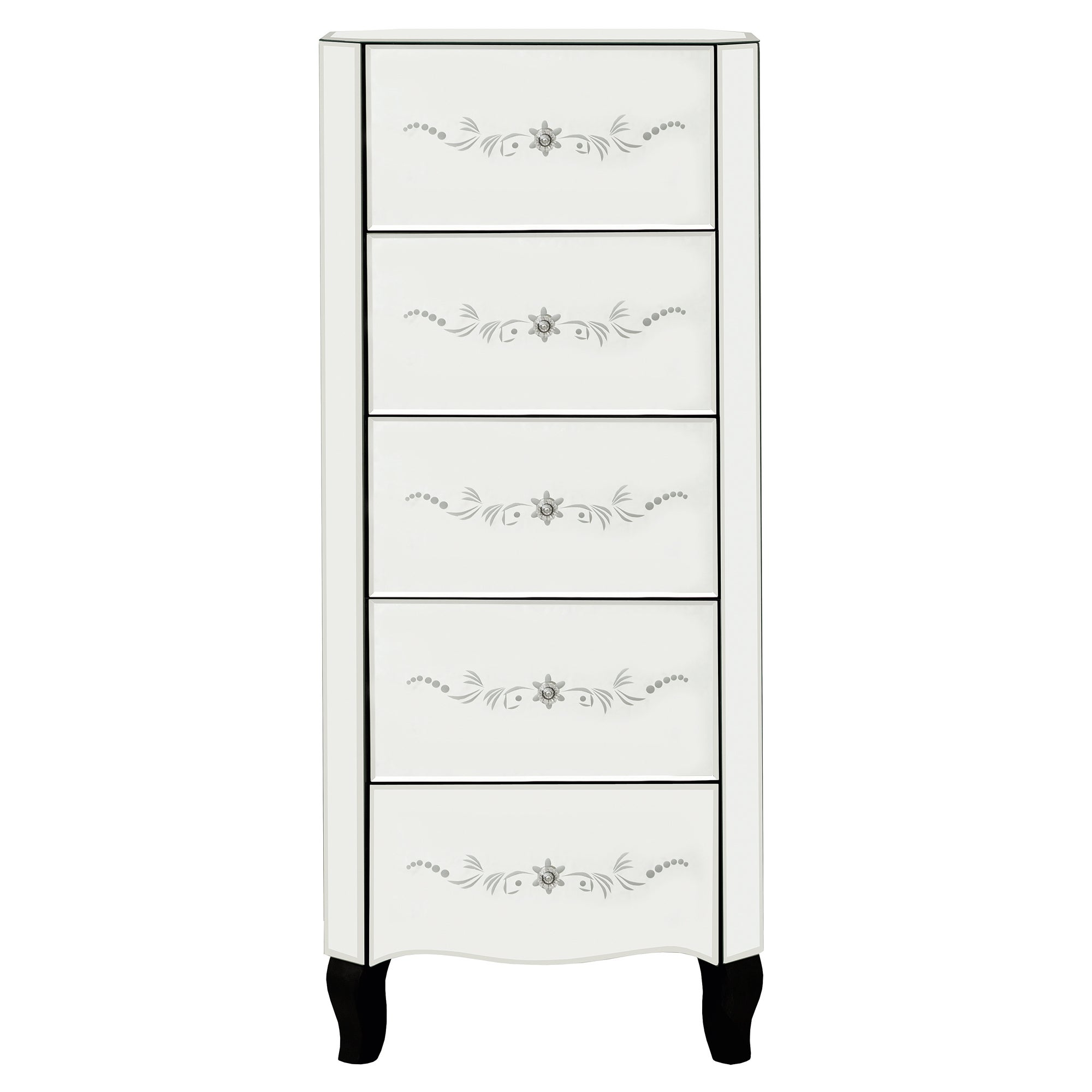 Parisian Mirrored 5 Drawer Tallboy