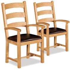 Shawbury Pair of Oak Dining Armchairs