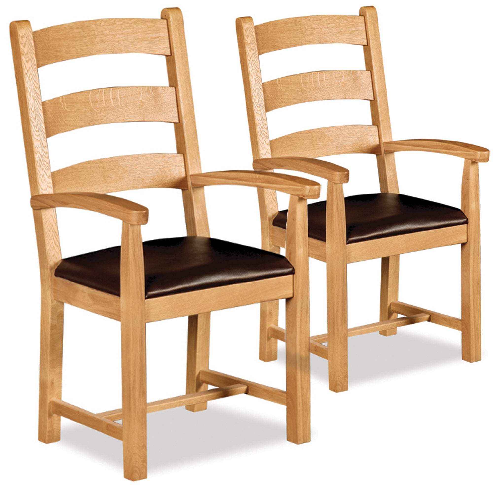 Shawbury Pair of Oak Dining Carver Chairs