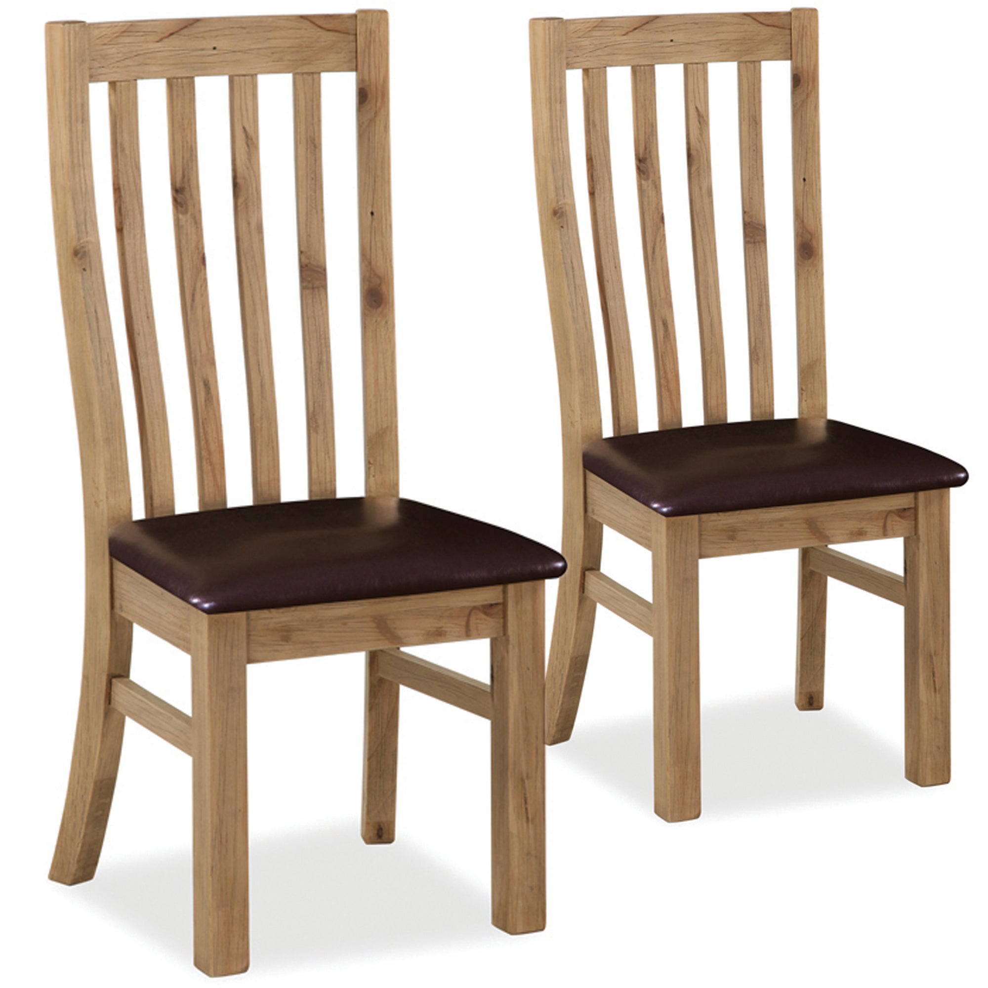 Naples Pair of Padded Pine Dining Chairs