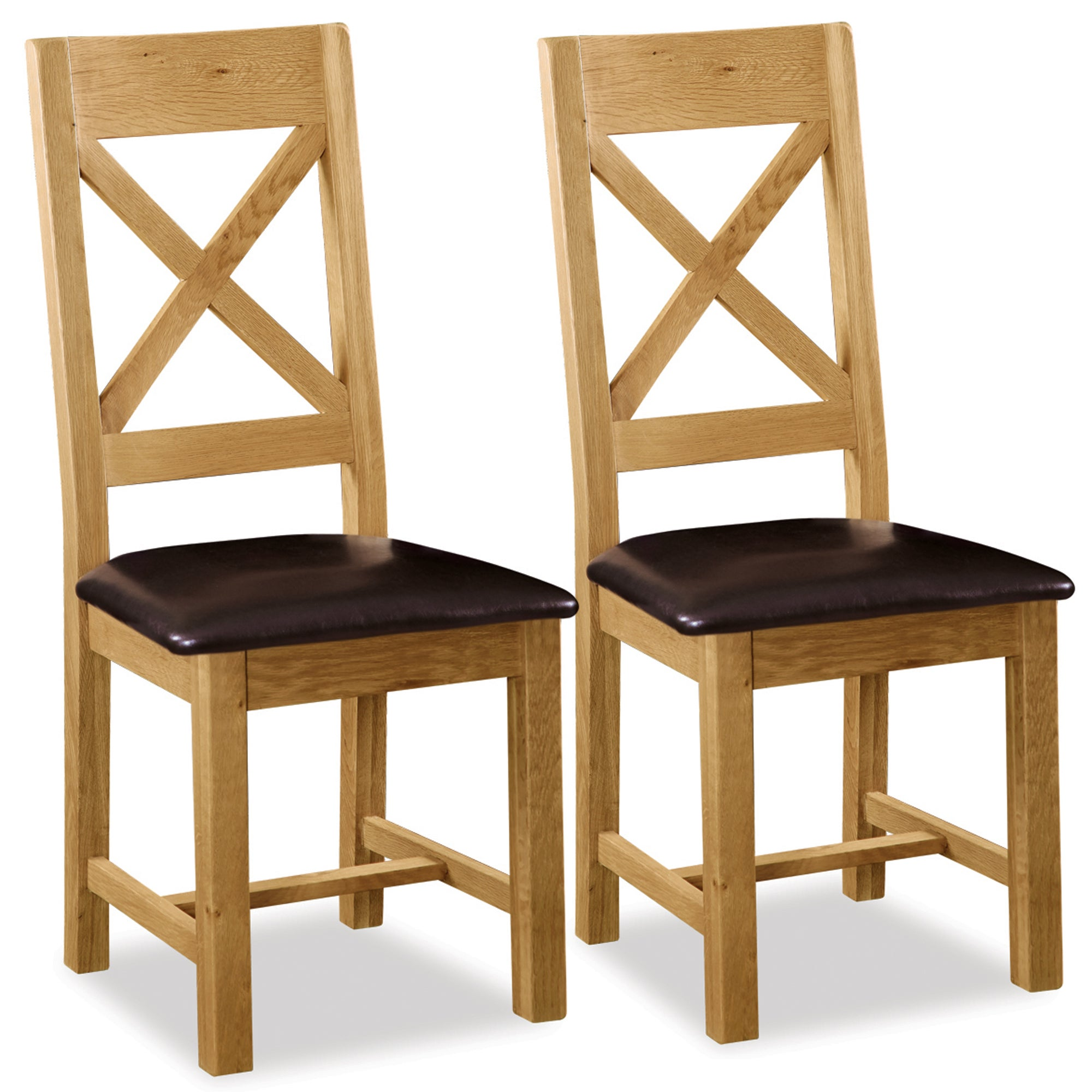 Chichester Pair of Oak Cross Back Padded Dining Chairs