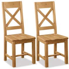 Aylesbury Pair of Oak Cross Back Dining Chairs
