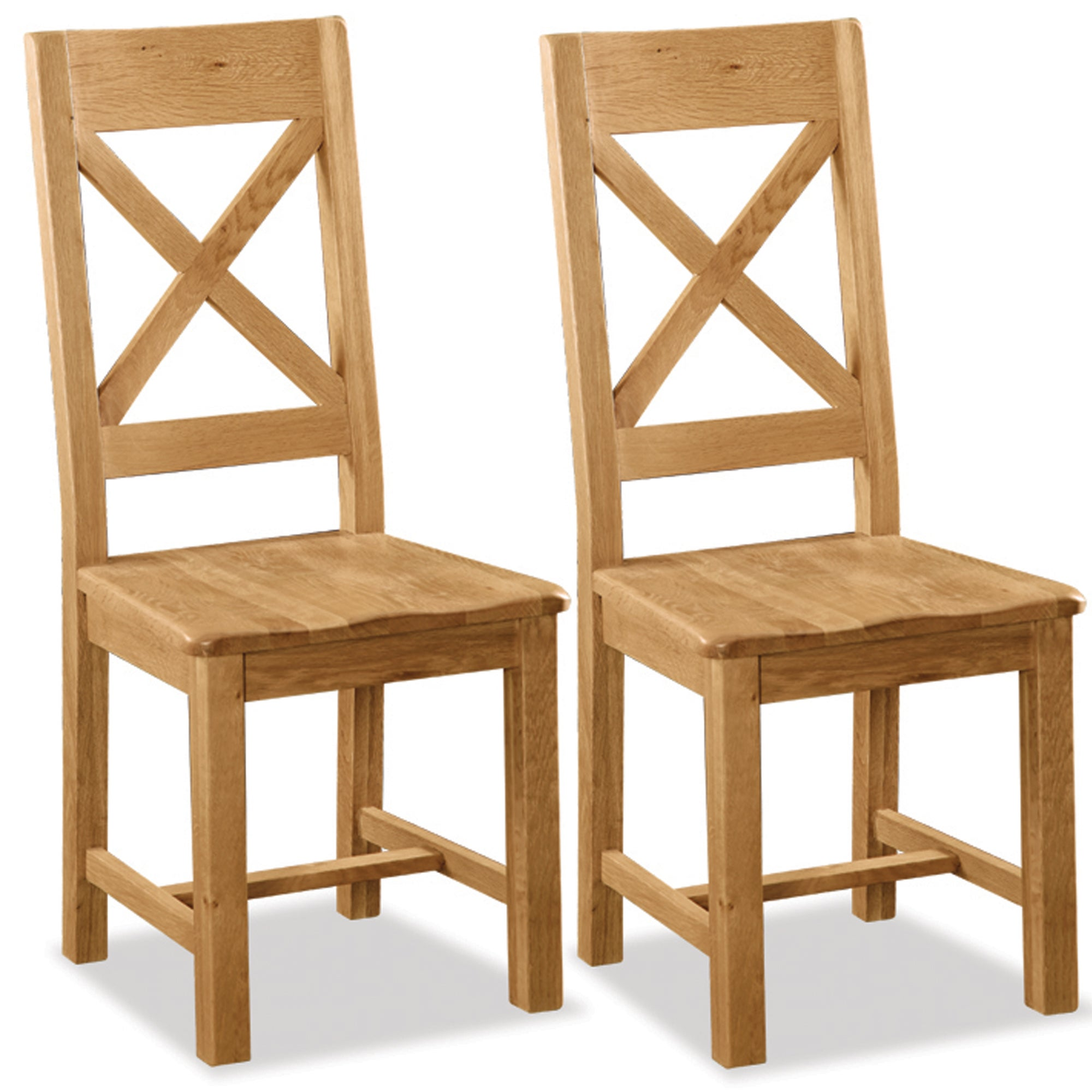 Chichester Pair of Oak Cross Back Dining Chairs