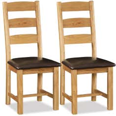 Aylesbury Pair of Oak Slatted Back Padded Dining Chairs