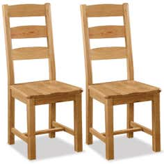 Aylesbury Pair of Oak Slatted Back Dining Chairs