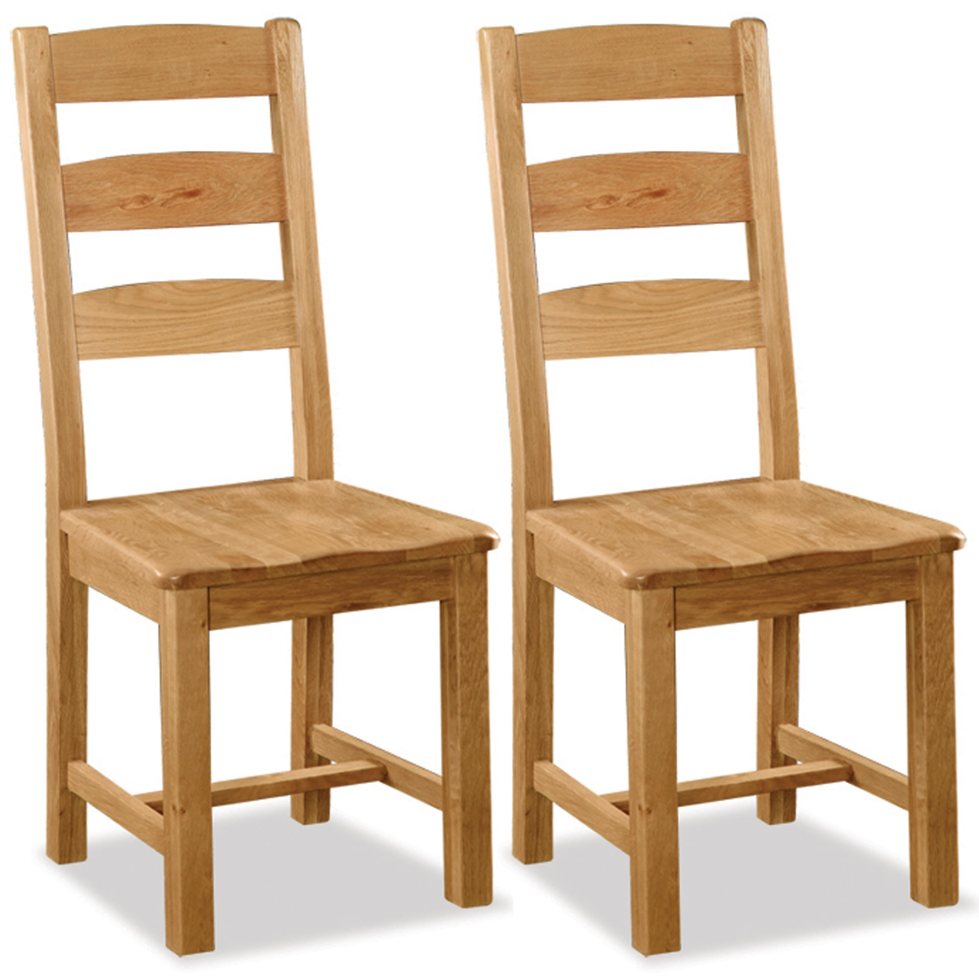 Aylesbury Pair of Oak Slatted Back Dining Chairs