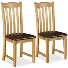 Aylesbury Pair of Oak Padded Seat Dining Chairs