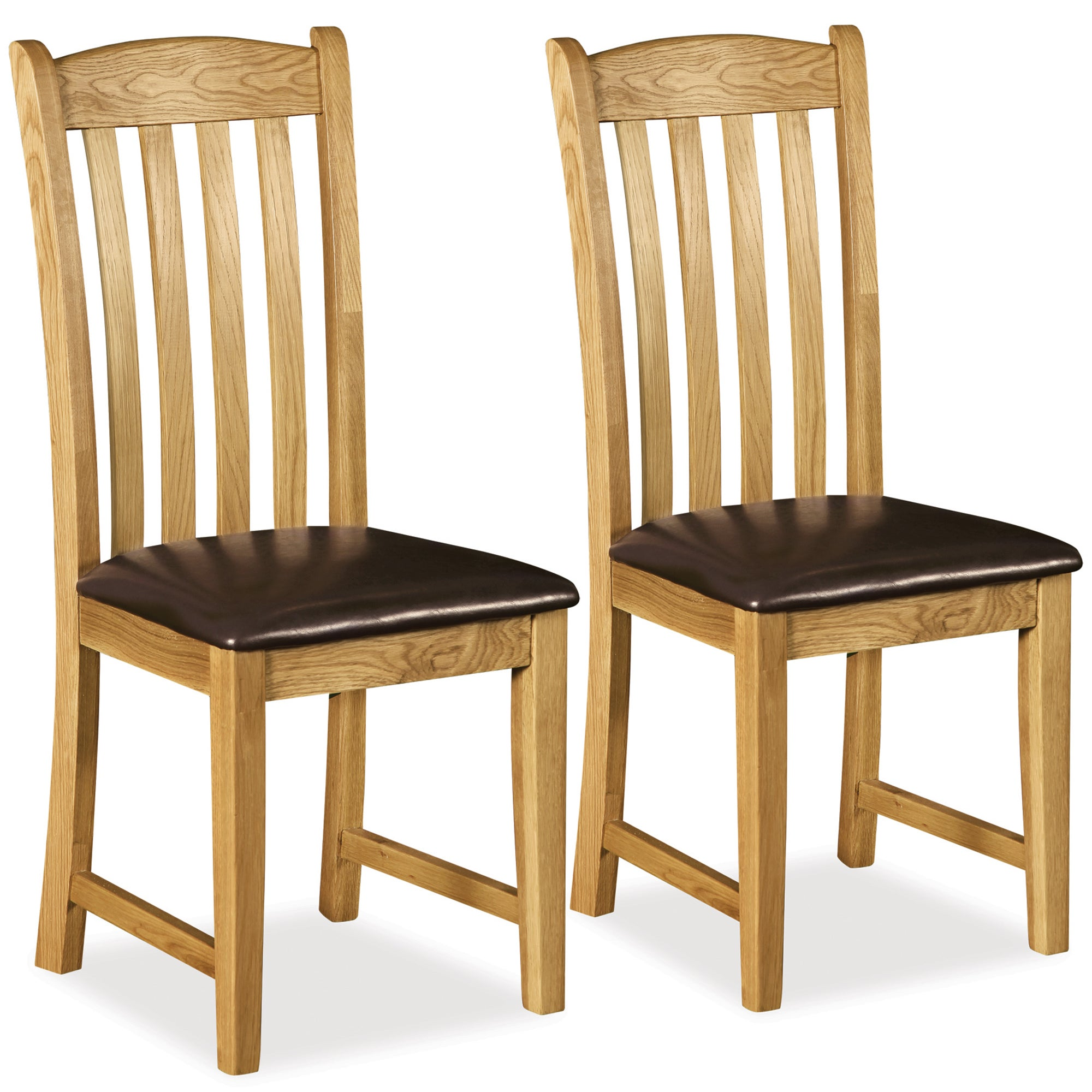 Chichester Pair of Oak Padded Seat Dining Chairs