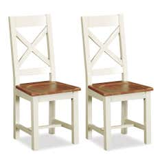Truro Pair of Oak Cross Back Dining Chairs