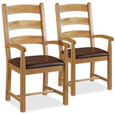 Wexford Pair of Oak Dining Armchairs