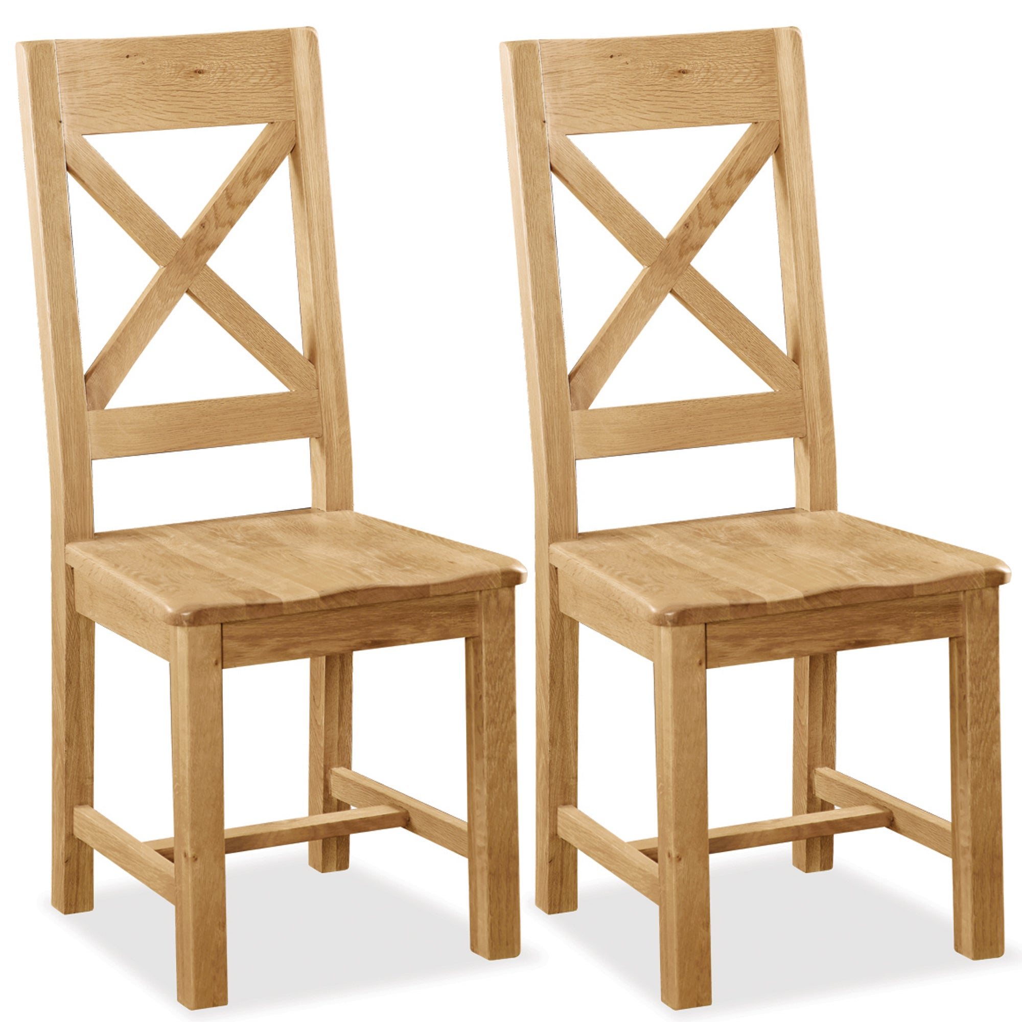 Harrogate Pair of Oak Cross Back Dining Chairs