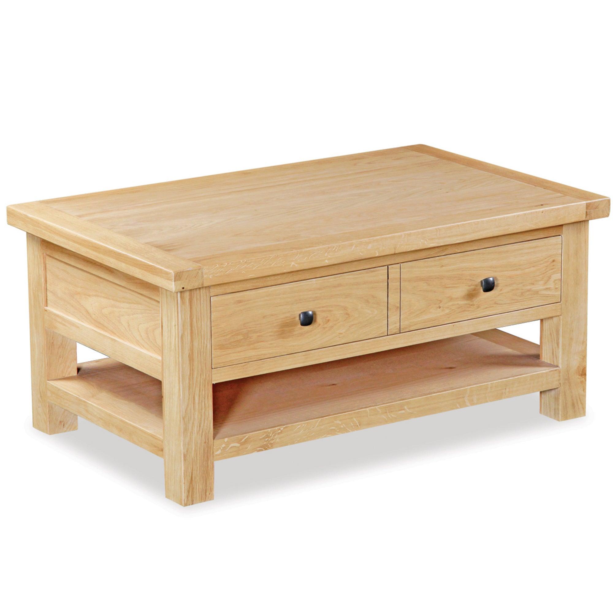 Harrogate Oak Large Coffee Table with Drawer