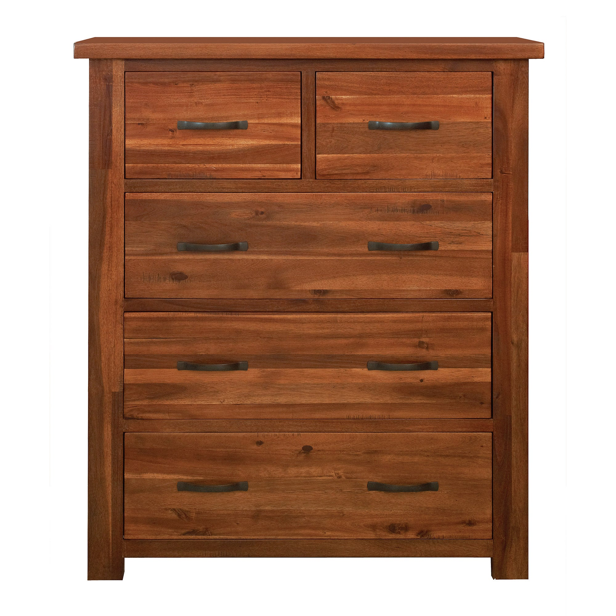 Oxford Acacia Dark Wood 5 Drawer Chest