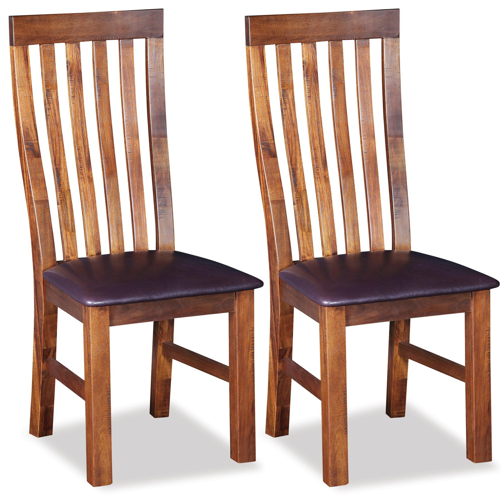 Oxford Acacia Dark Wood Pair of Dining Chairs