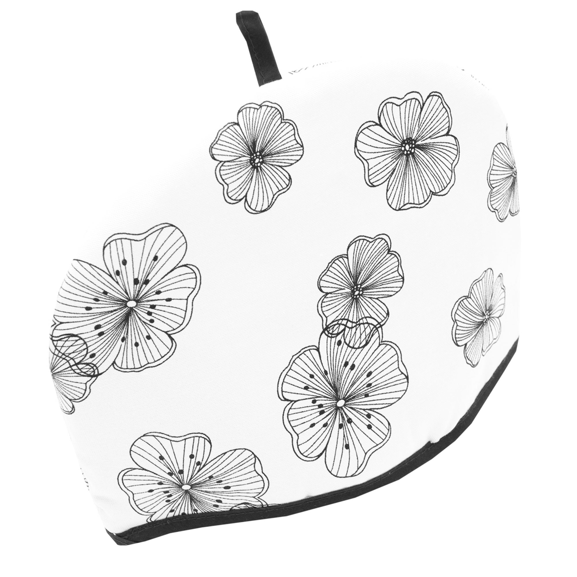 Black & White Ava Flower Collection Tea Cosy