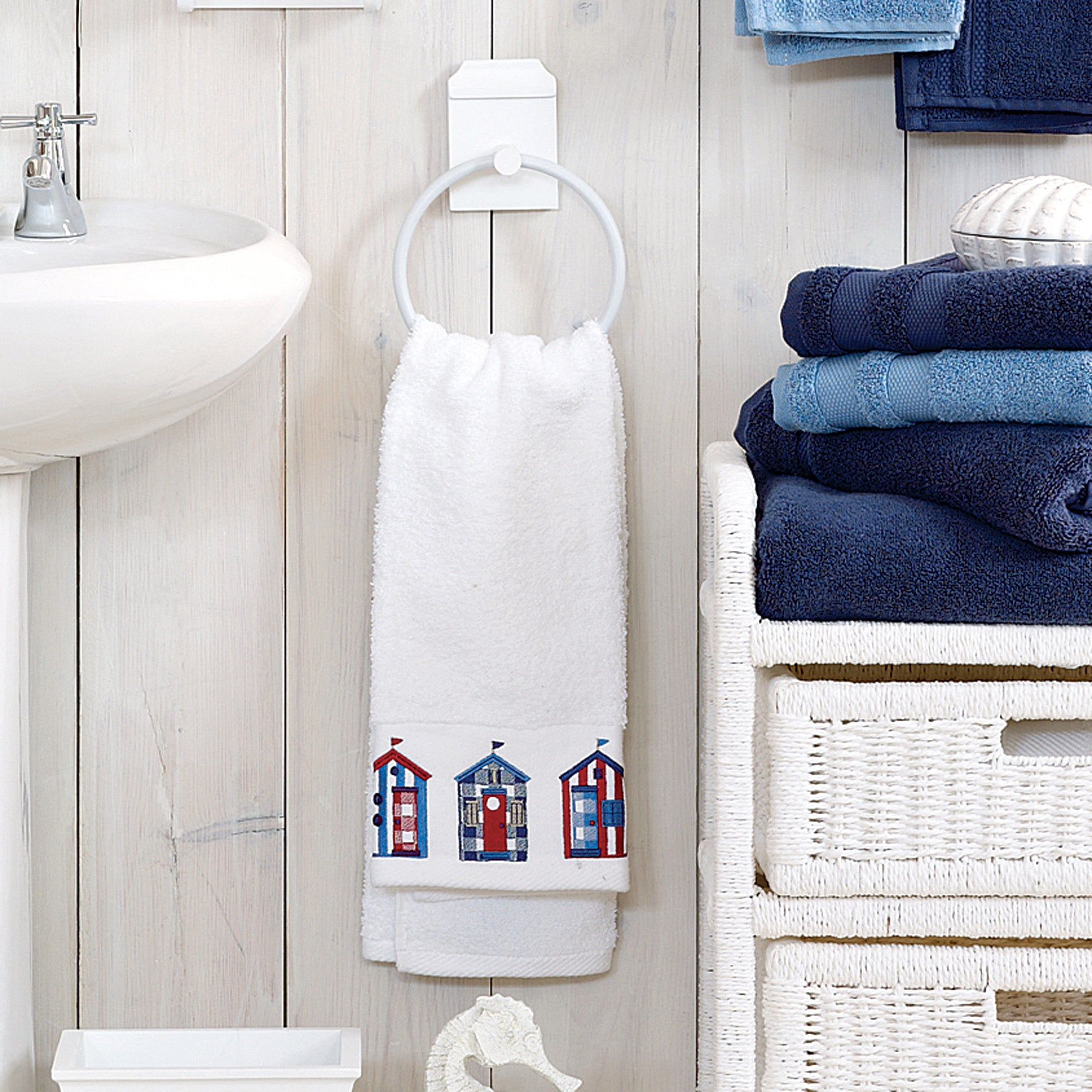 Beach Hut Embellished Towel