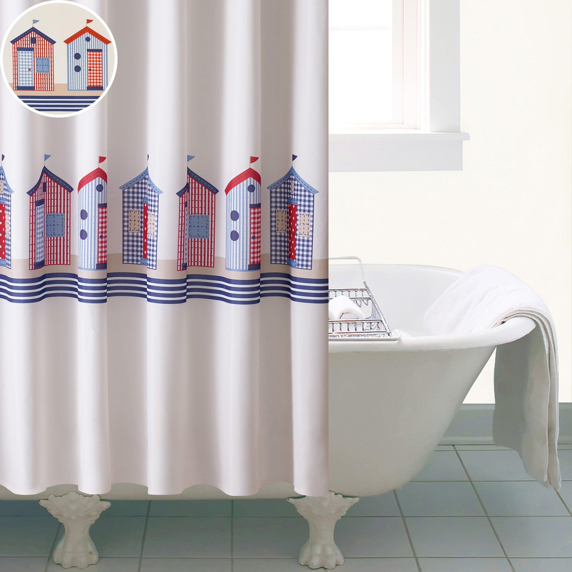 Beach Huts Shower Curtain Dunelm