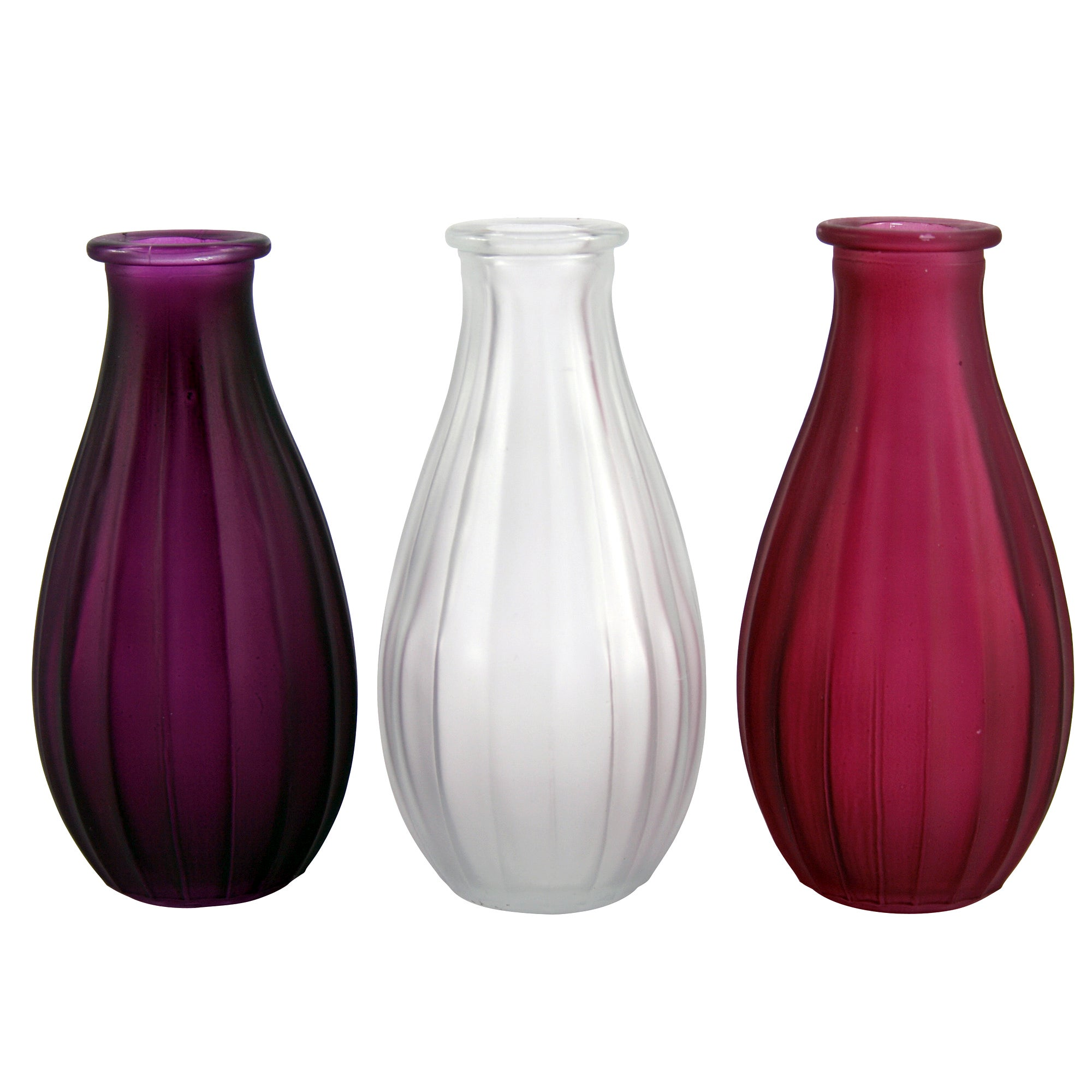 Florence Collection Set of 3 Frosted Glass Vases