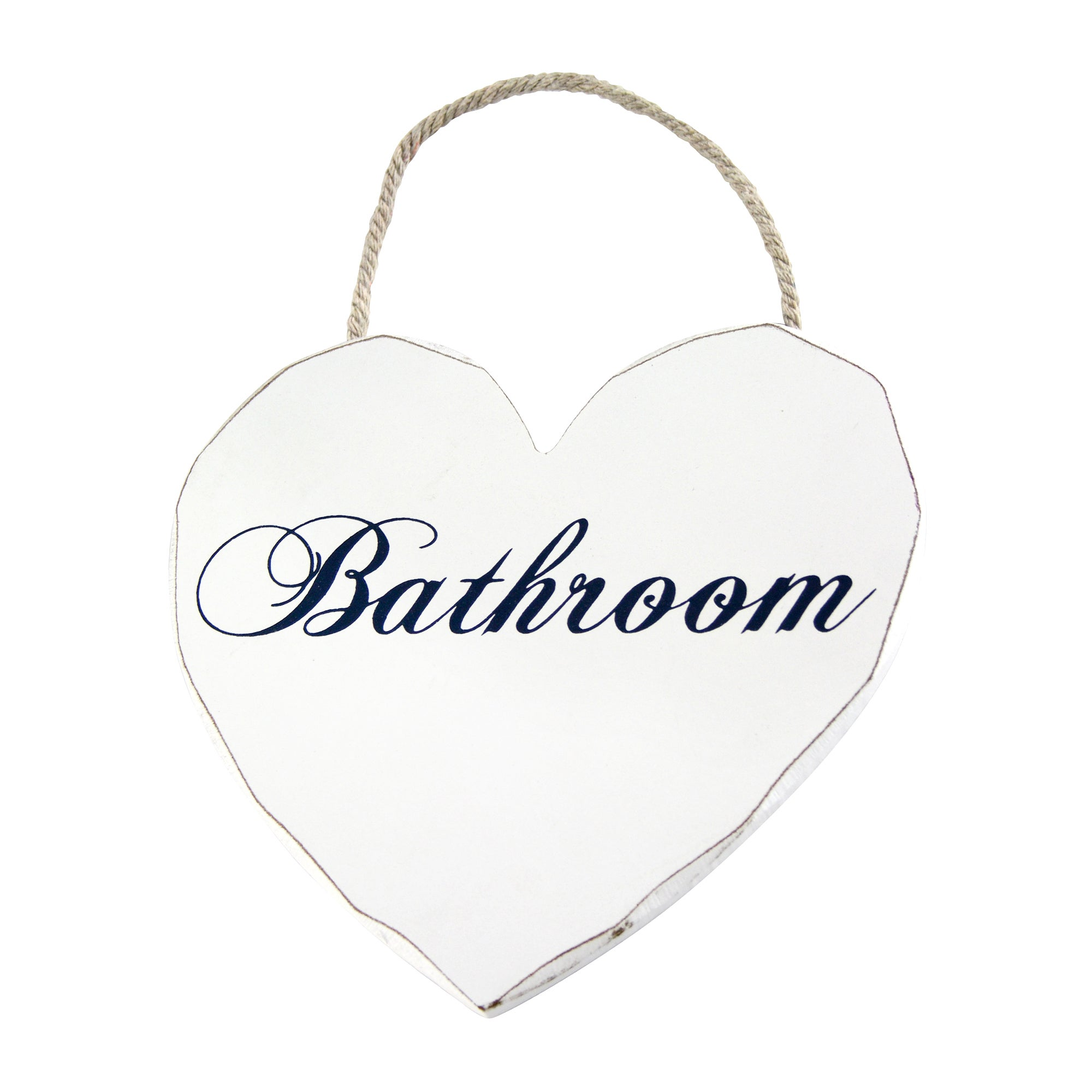 Vintage Collection Hanging Heart Bathroom Sign